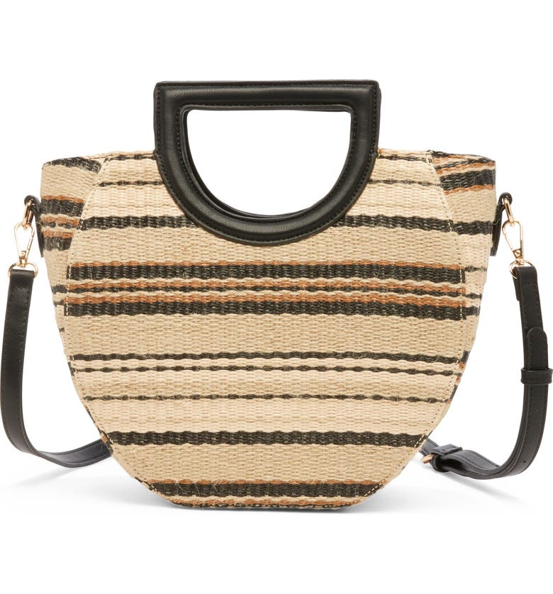 SOLE SOCIETY Eppie Woven Satchel, Main, color, BLACK COMBO