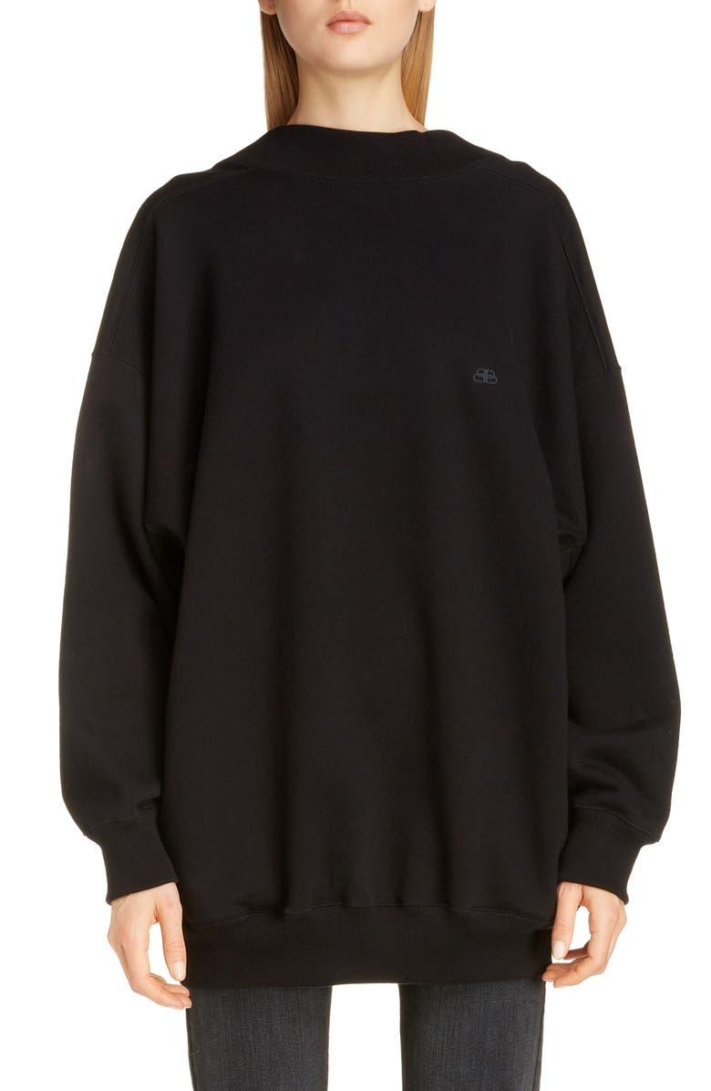 BALENCIAGA Wide Neck Sweatshirt, Main, color, BLACK