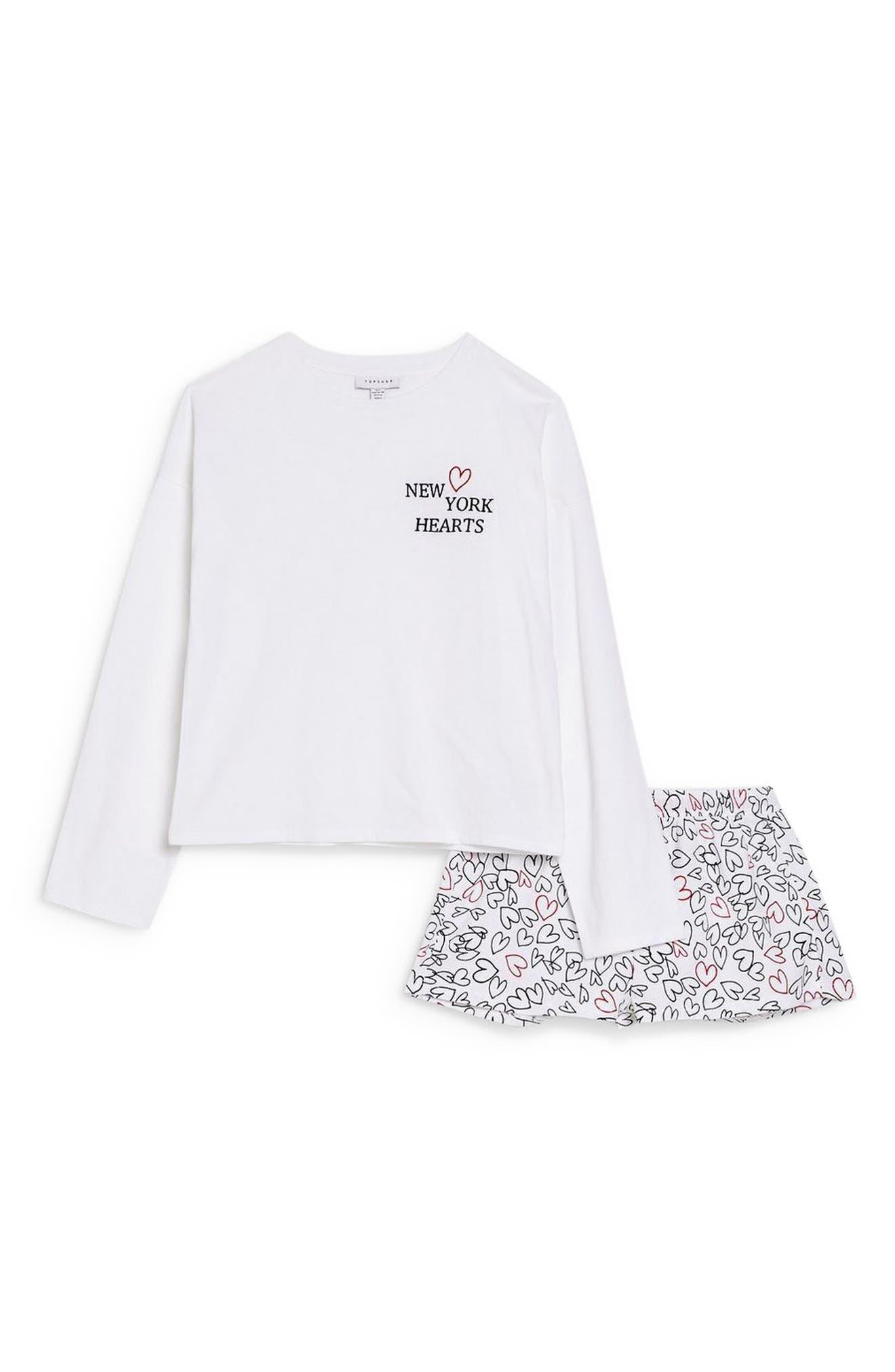 ,                             New York Hearts Short Pajamas,                             Alternate thumbnail 4, color,                             WHITE MULTI