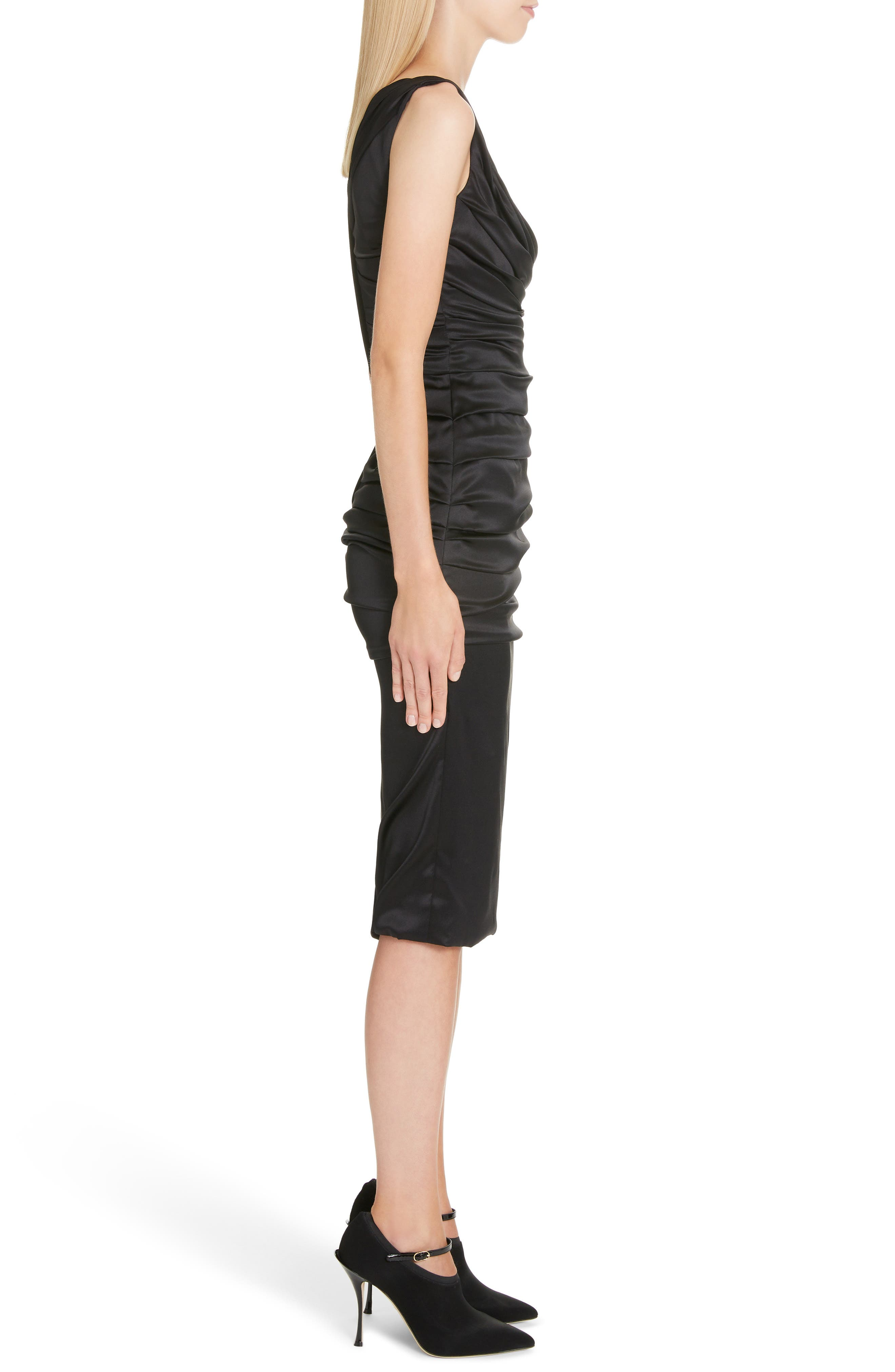,                             Ruched Stretch Silk Satin Body-Con Dress,                             Alternate thumbnail 3, color,                             BLACK