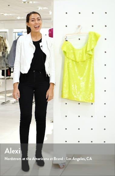 Sequin Ruffle One-Shoulder Sheath Dress, sales video thumbnail