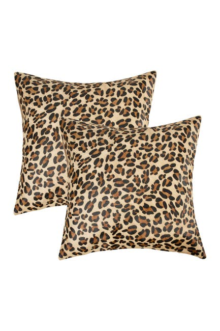 """Image of Natural Torino Togo Cowhide Pillow 18"""" X 18"""" - Leopard - Pack of 2"""