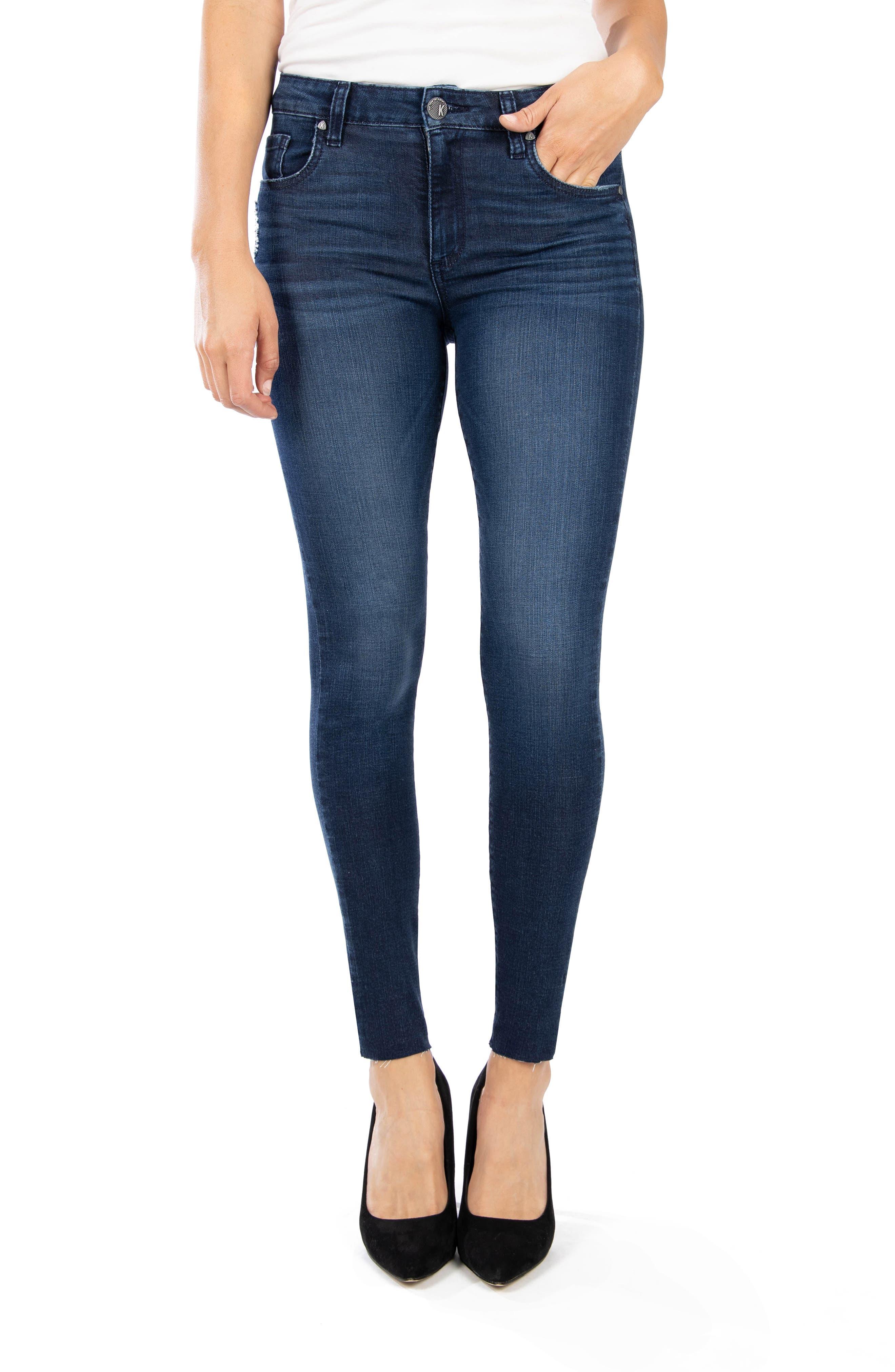 Donna High Waist Raw Hem Ankle Skinny Jeans