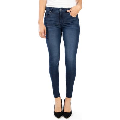 Kut From The Kloth Donna High Waist Raw Hem Ankle Skinny Jeans, Blue