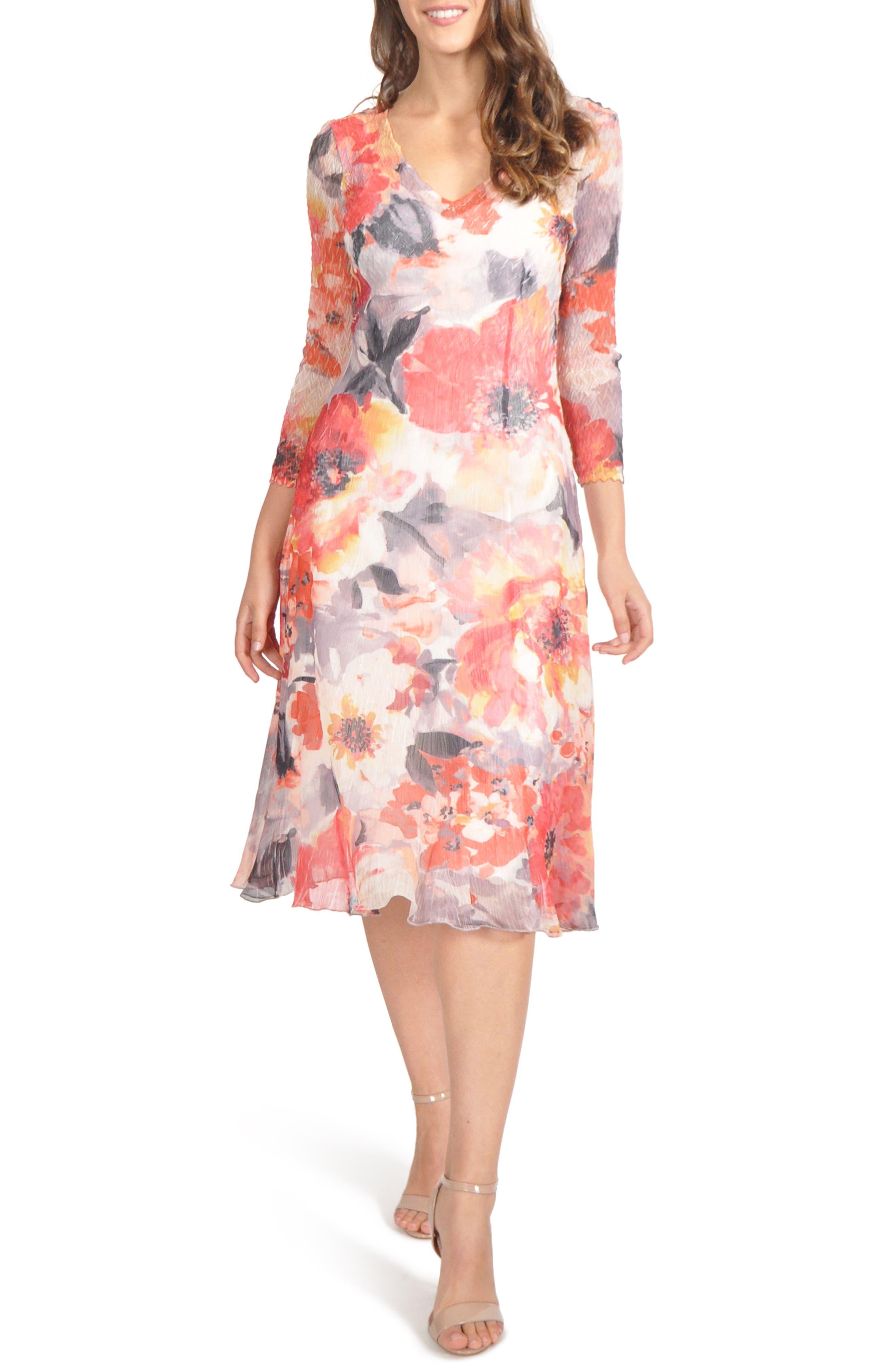 Petite Komarov Chiffon A-Line Dress, Red