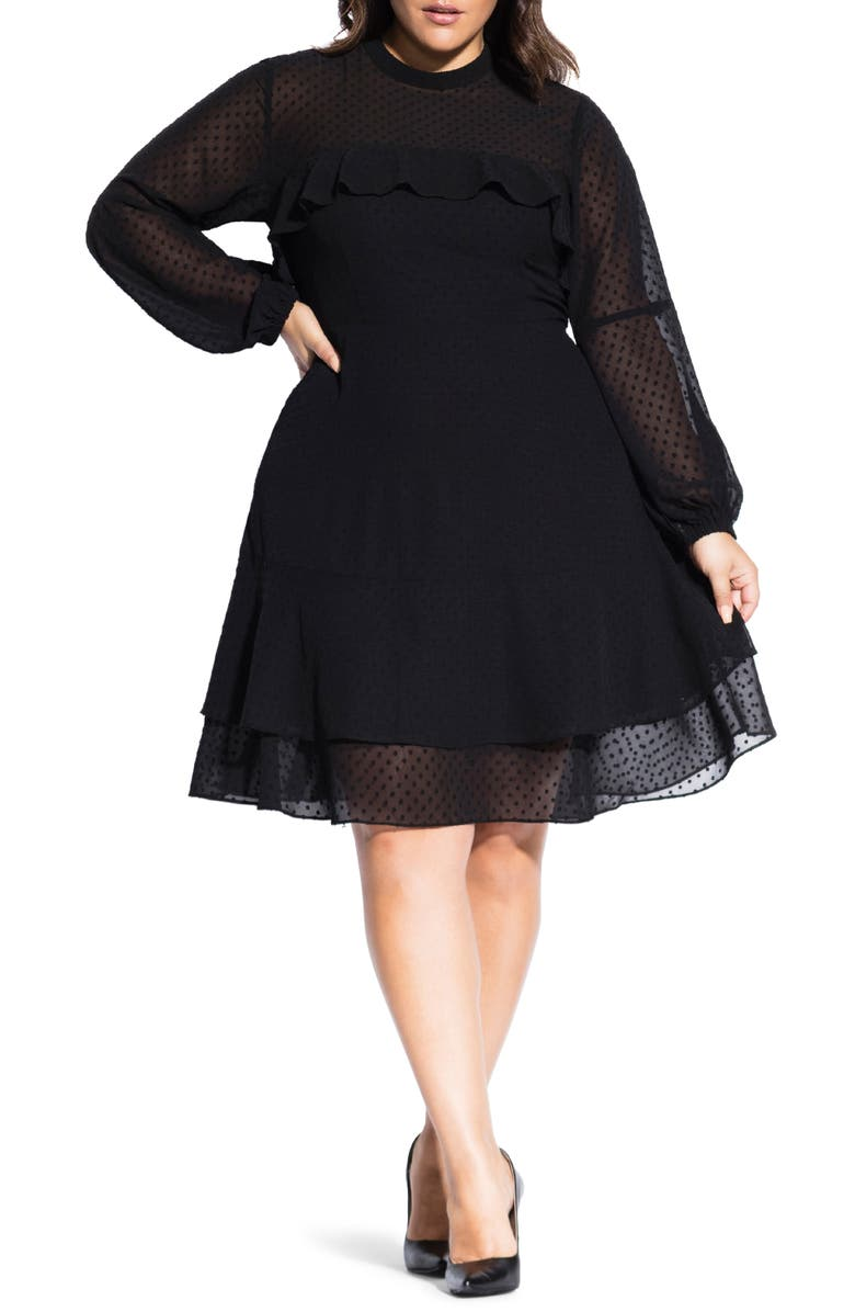 CITY CHIC Dobby Long Sleeve Fit & Flare Dress, Main, color, 001