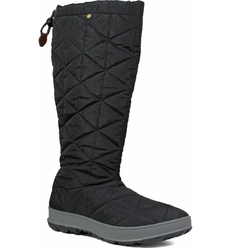 BOGS Snowday Tall Waterproof Quilted Snow Boot, Main, color, BLACK