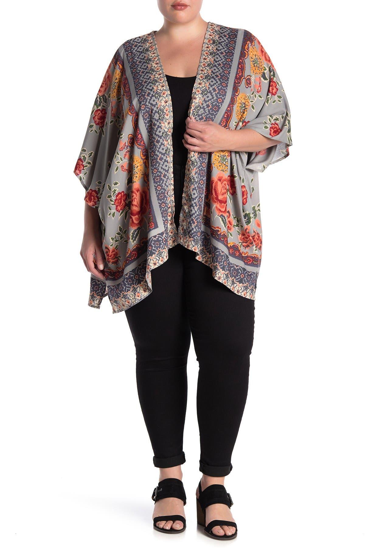 Image of Angie Floral Border Kimono