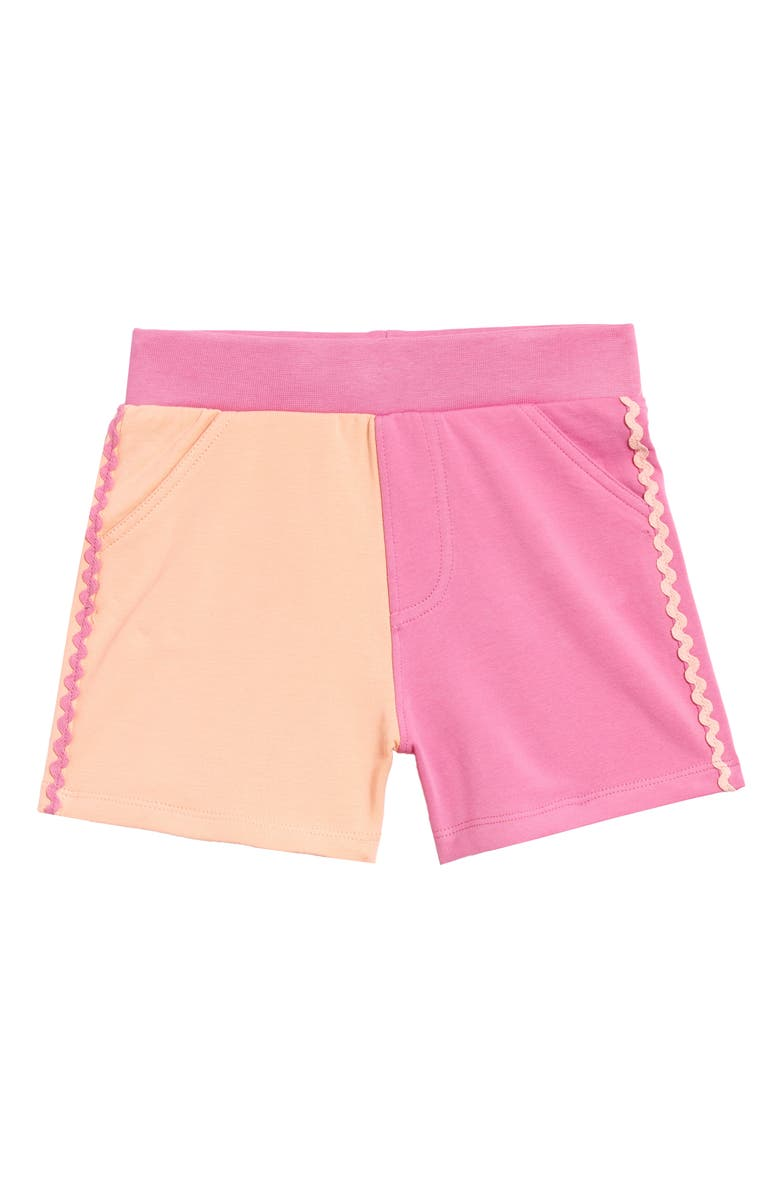 ART & EDEN Waverly Colorblock Washed Shorts, Main, color, PEACH ENZYME WASH