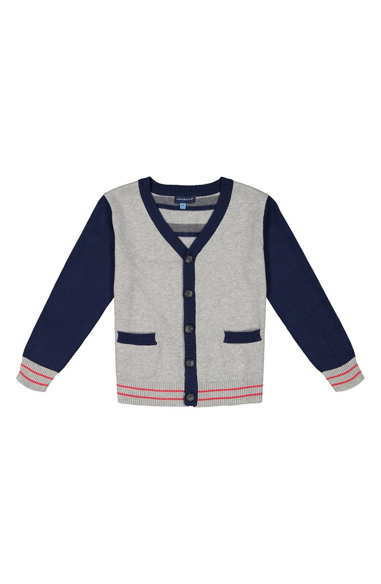 ANDY & EVAN Varsity Cardigan, Main, color, LIGHT GREY
