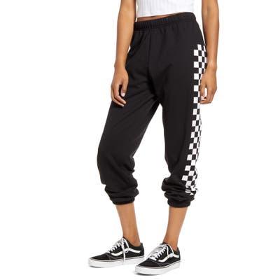 Sub Urban Riot Checkered Stripe Crop Sweatpants, Black