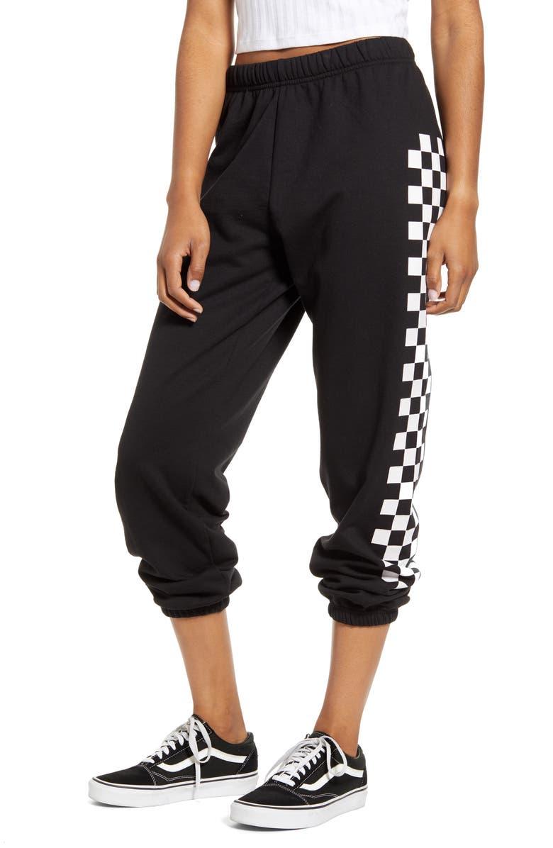 SUB_URBAN RIOT Checkered Stripe Crop Sweatpants, Main, color, 001