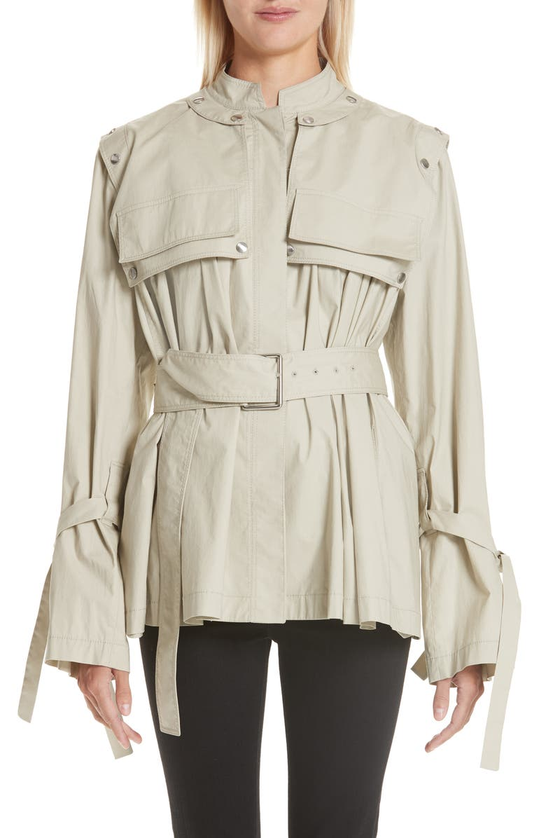 PROENZA SCHOULER Pocket Detail Belted Cotton Blend Jacket, Main, color, 027