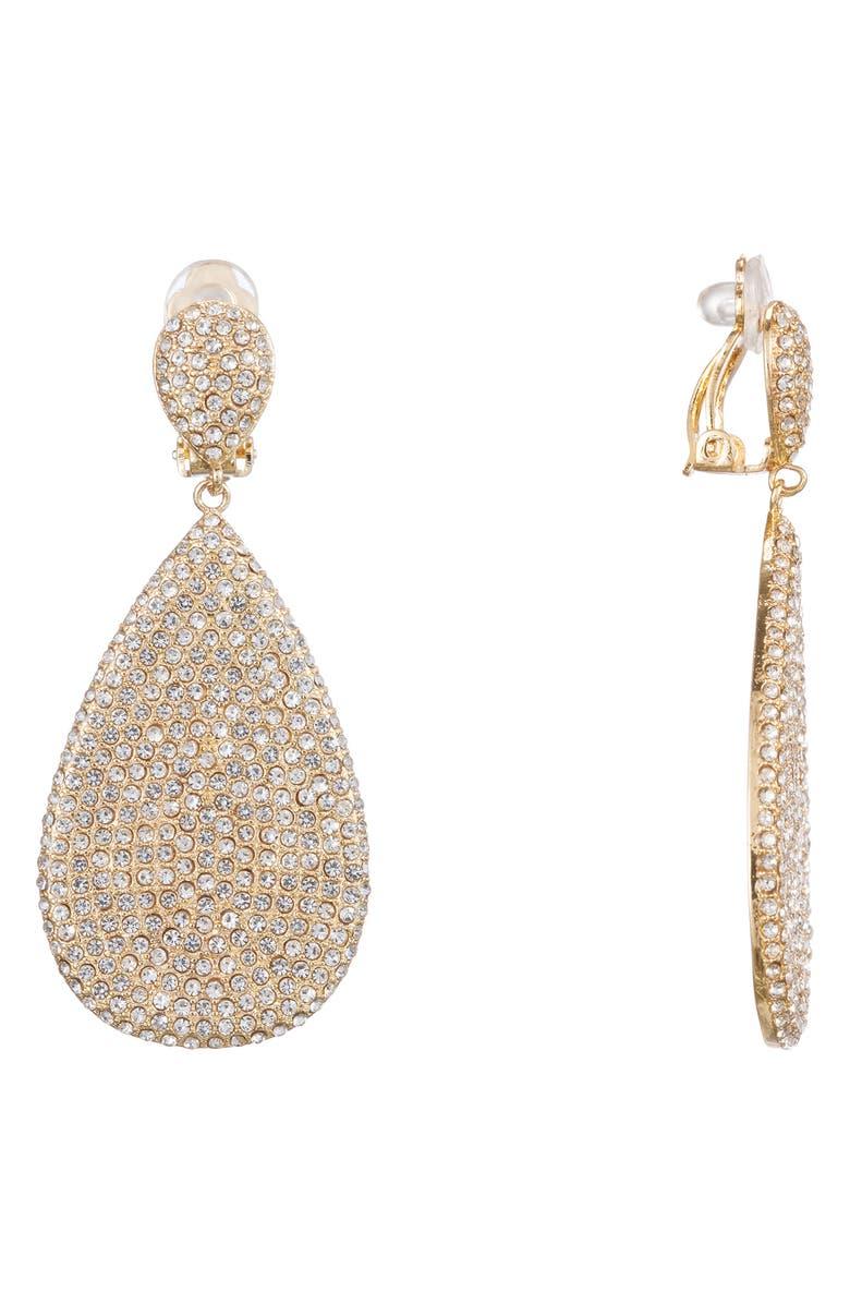NINA Teardrop Pavé Earrings, Main, color, GOLD/ WHITE CRYSTAL