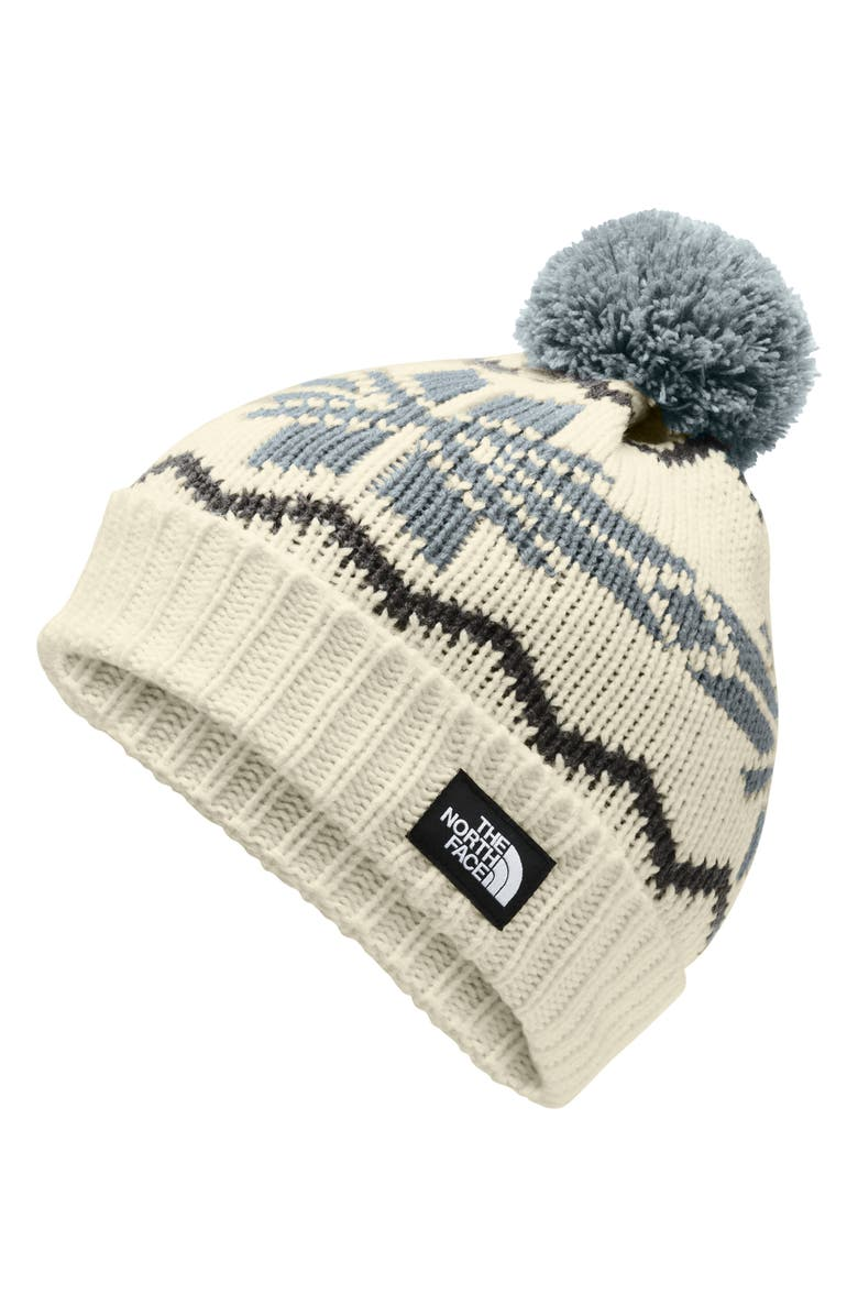 THE NORTH FACE Fair Isle Deep Fit Beanie, Main, color, VINTAGE WHITE/ MID GREY MULTI