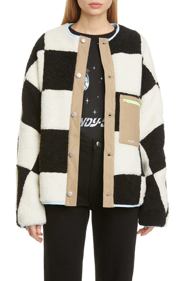 SANDY LIANG Pawn Check Fleece Jacket, Main, color, 001