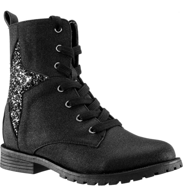 NINA Vanni Glitter Star Boot, Main, color, BLACK SHIMMER