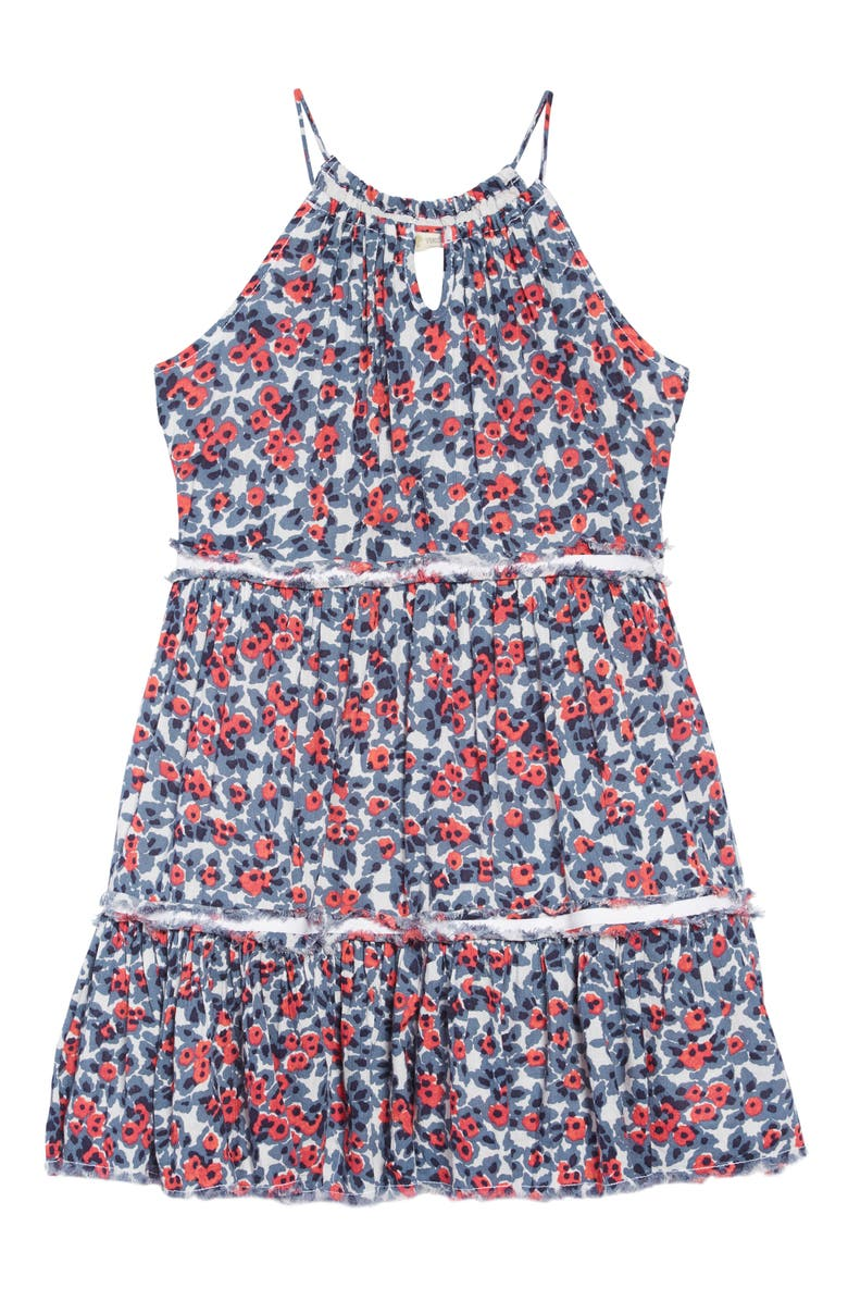 TUCKER + TATE Gauzy Tiered Dress, Main, color, IVORY EGRET SHADOW FLORAL