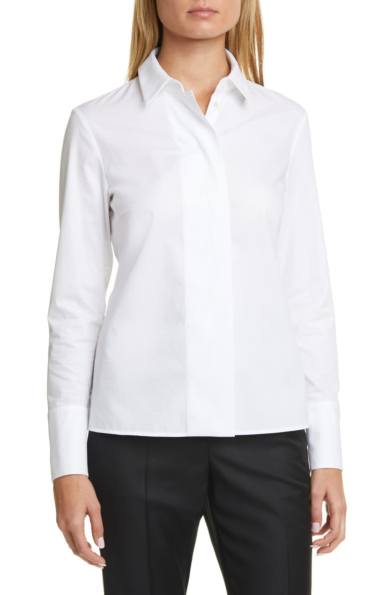 BOSS Baniti Long Sleeve Stretch Cotton Blouse, Main, color, 100