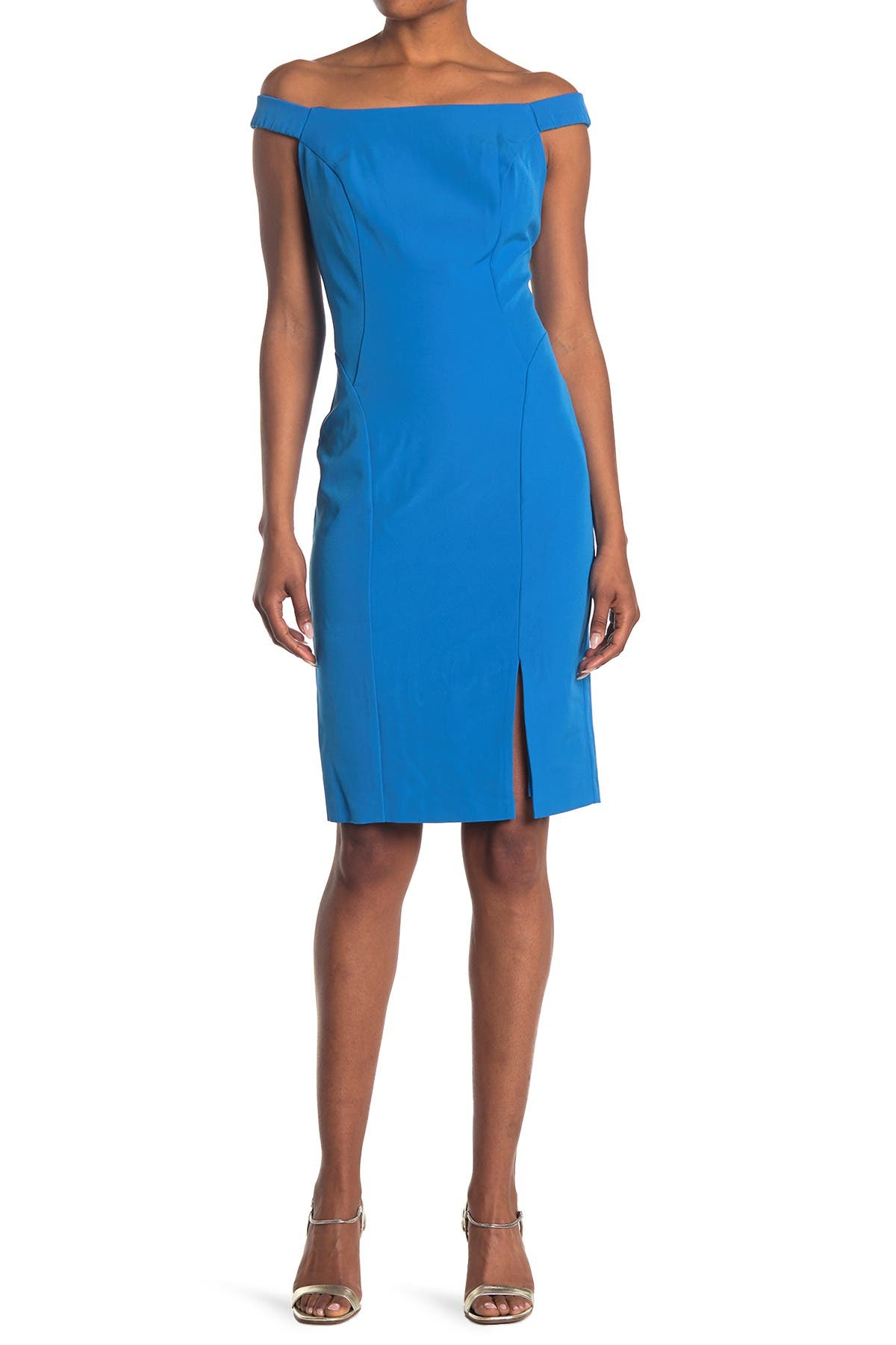 Image of Marina Off-The-Shoulder Bodycon With Side Slit