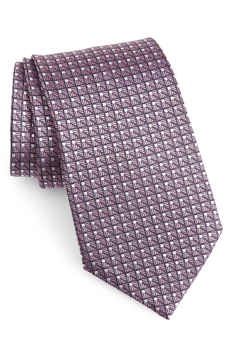 ERMENEGILDO ZEGNA Geometric Silk Tie, Main, color, PINK