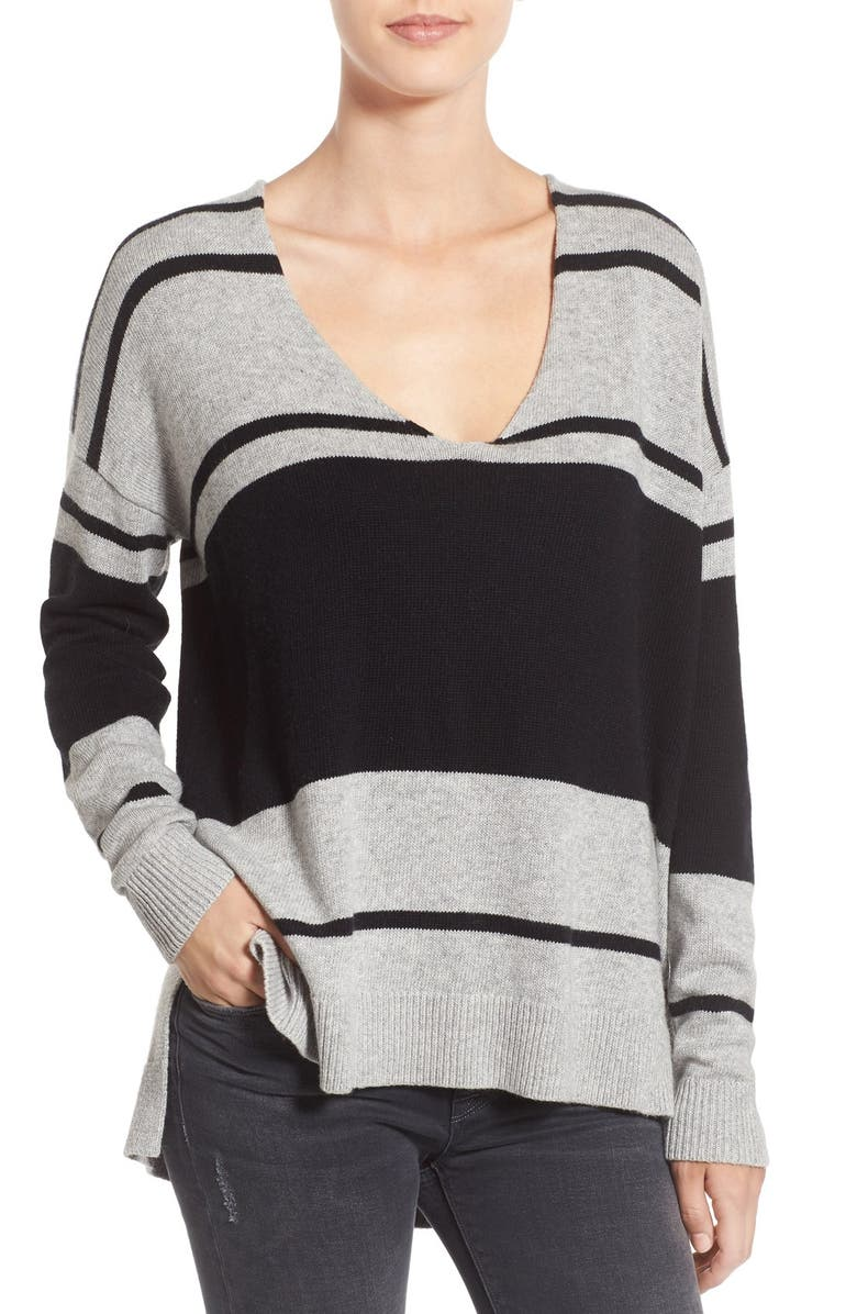 TREASURE & BOND Treasure&Bond Stripe Pullover Sweater, Main, color, GREY HEATHER BLACK