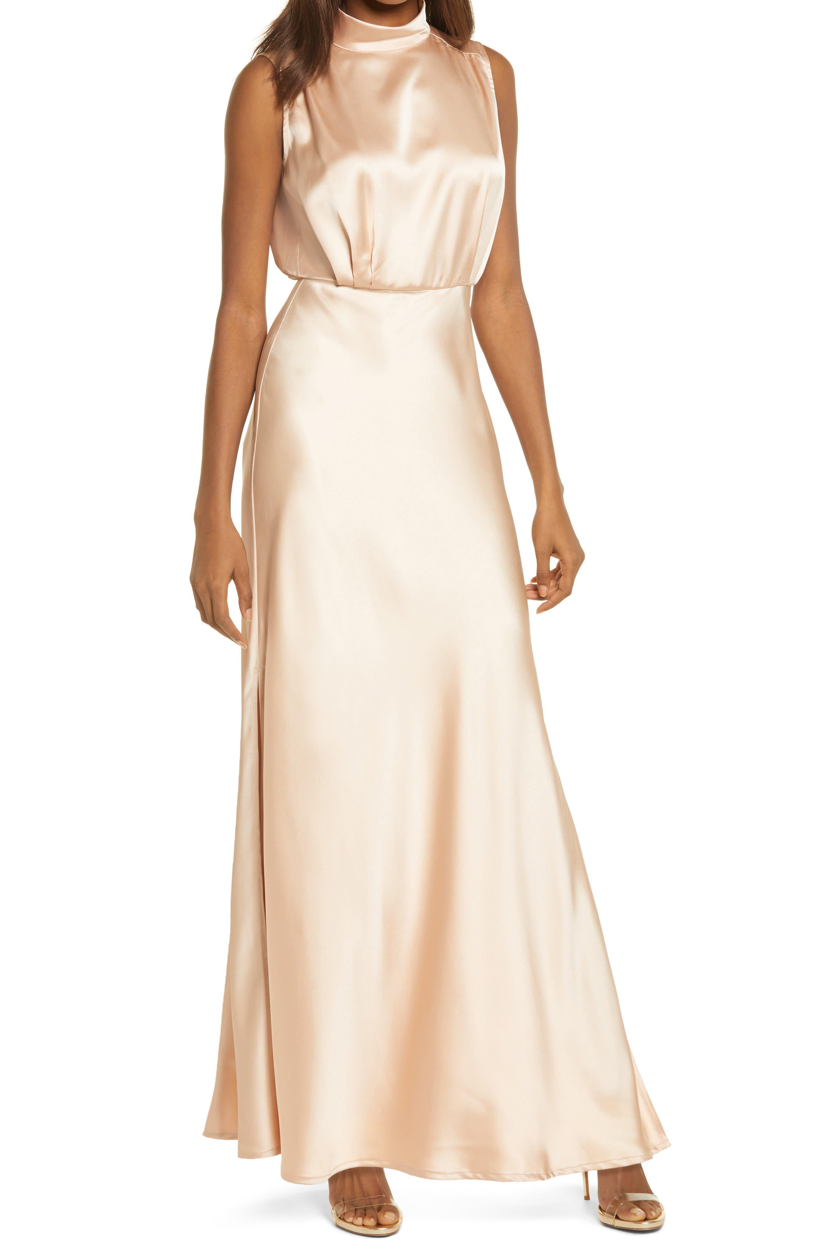 60s Wedding Dresses   70s Wedding Dresses Womens Lulus Classic Elegance Mock Neck Sleeveless Satin Gown Size Small - Beige $77.00 AT vintagedancer.com