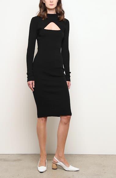 Merino Wool Long Sleeve Midi Sweater Dress, video thumbnail