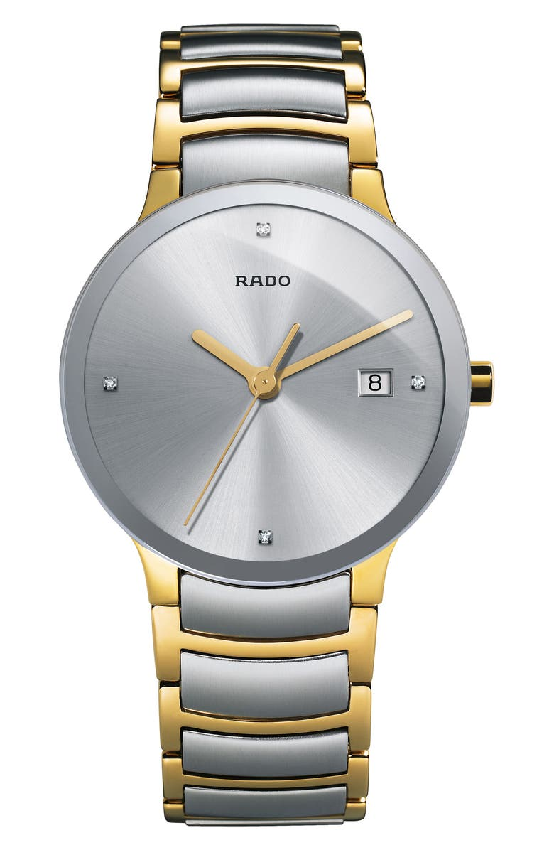 RADO Centrix Diamond Bracelet Watch, 38mm, Main, color, 710