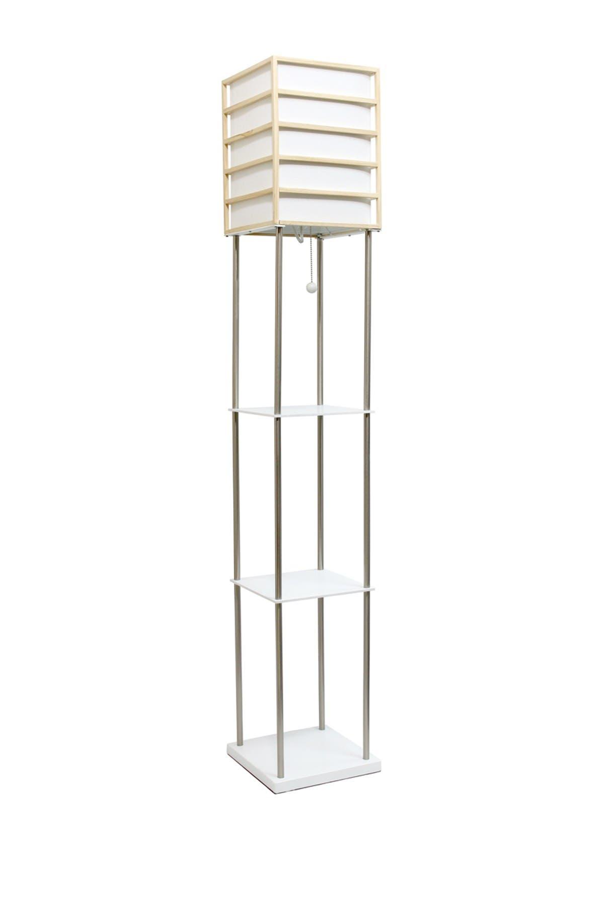 Lalia Home Light Metal Etagere Floor Lamp With Storage Shelves Linen Shade Wood Nordstrom Rack