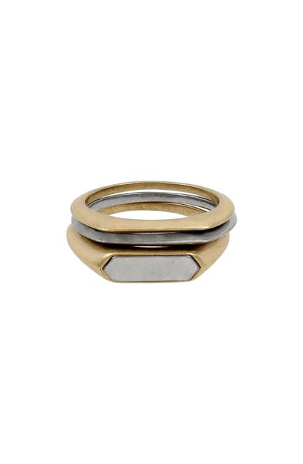 Image of ALLSAINTS Two-Tone Geometric Stacking Ring - Set of 3