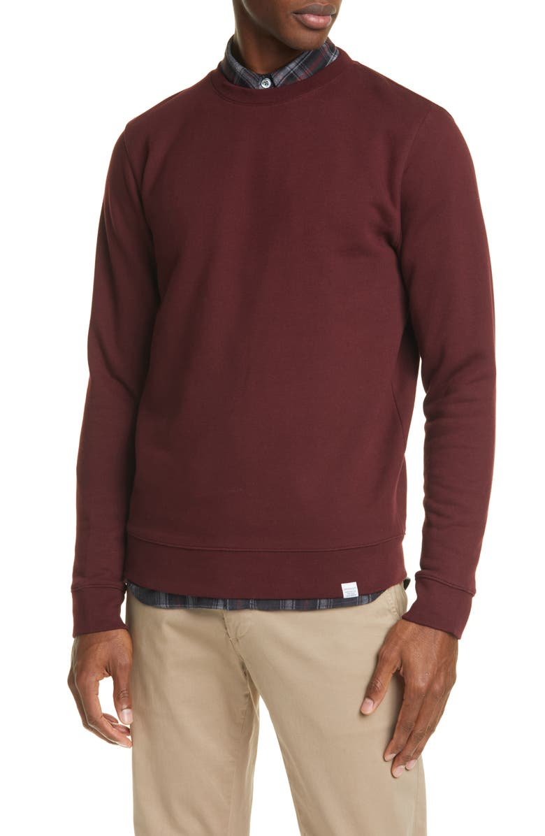 NORSE PROJECTS Vagn Crewneck Cotton Sweatshirt, Main, color, MULBERRY RED
