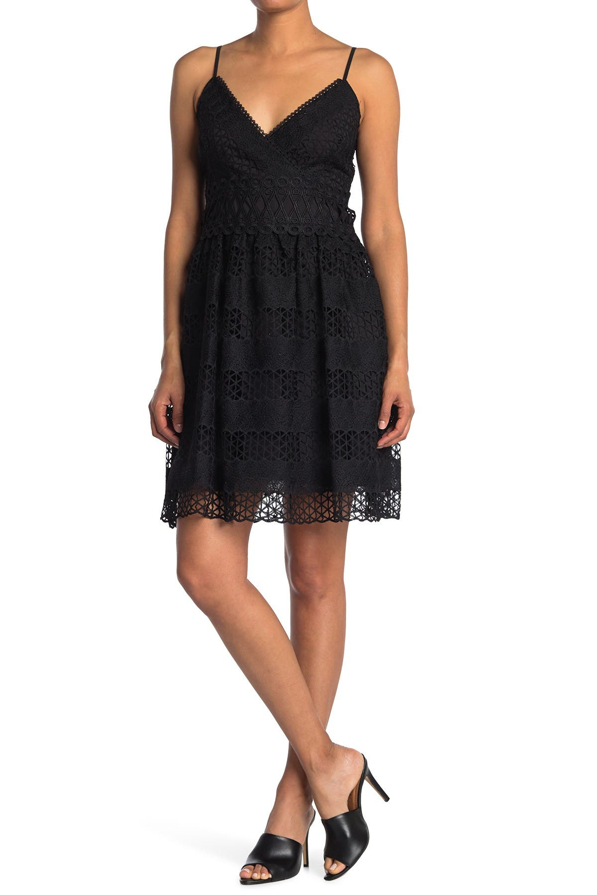 Image of GUESS Mesh Overlay Party Dress