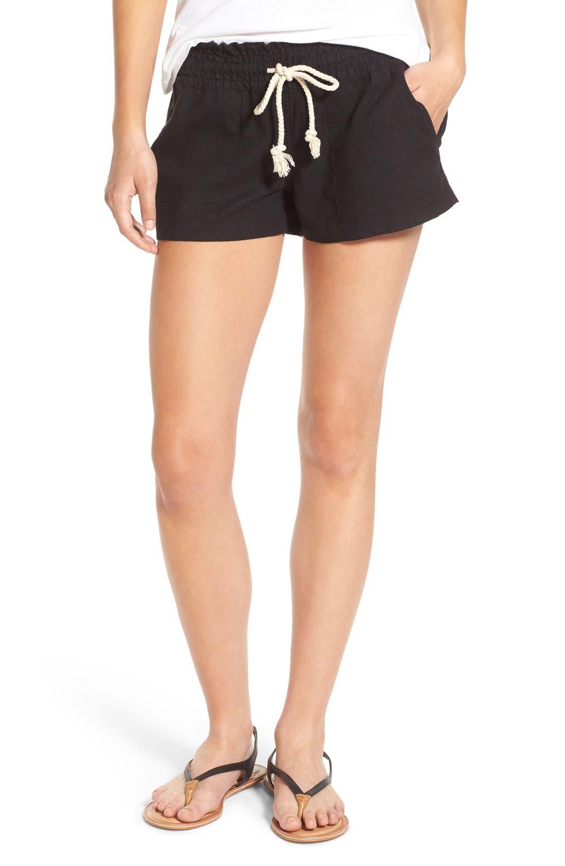 ,                             'Oceanside' Linen Blend Shorts,                             Main thumbnail 11, color,                             001