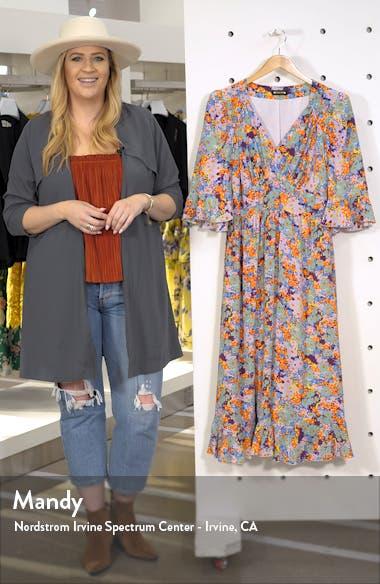 Evelyn Floral Print Silk Midi Dress, sales video thumbnail