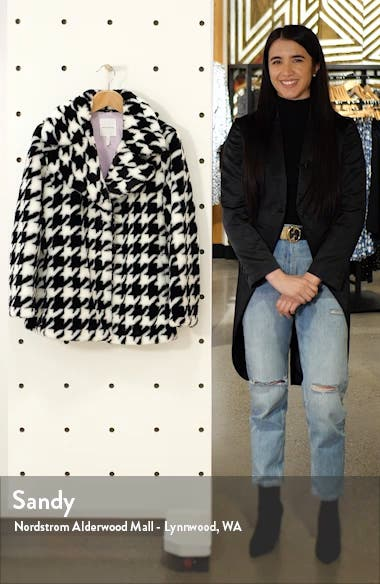 Houndstooth Faux Fur Coat, sales video thumbnail