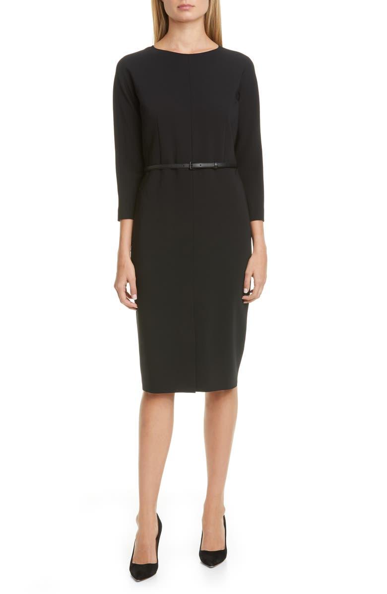 MAX MARA Liriche Stretch Wool Dress, Main, color, BLACK