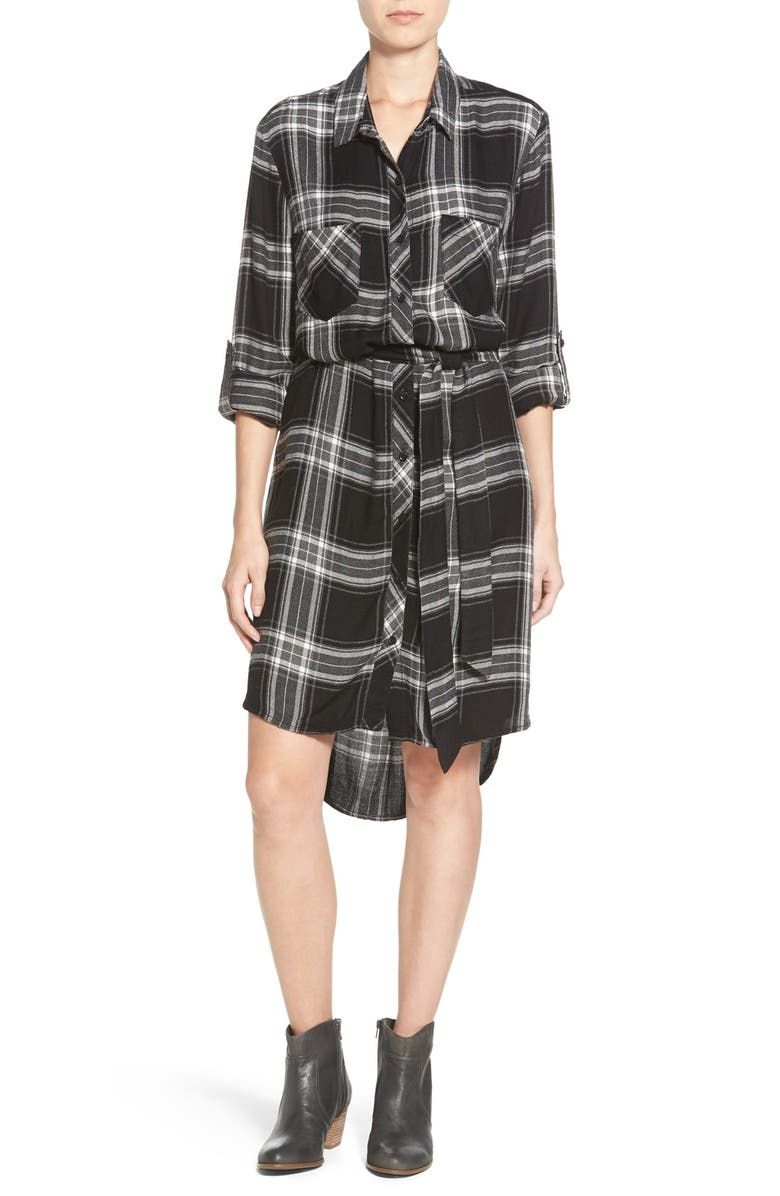 BEACHLUNCHLOUNGE Beach Lunch Lounge Belted Plaid Shirtdress, Main, color, 001