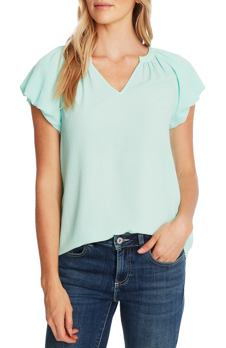 CECE Bubble Sleeve V-Neck Top, Main, color, SPEARMINTICE