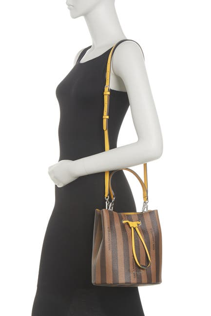 Image of Karl Lagerfeld Paris Adele Leather Stripe Print Bucket Bag