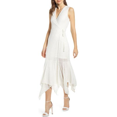 Bailey 44 Madeleine Sheer Stripe Wrap Dress, White