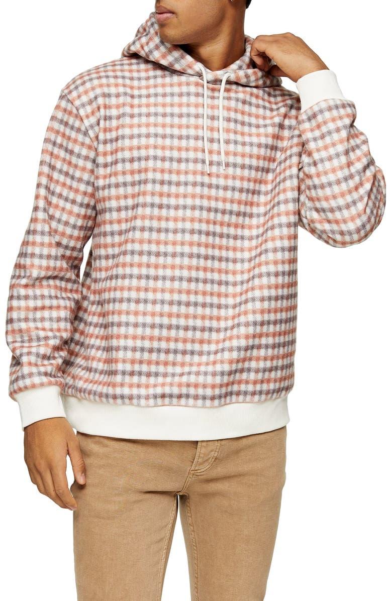 TOPMAN Check Overhead Hooded Sweatshirt, Main, color, CREAM MULTI