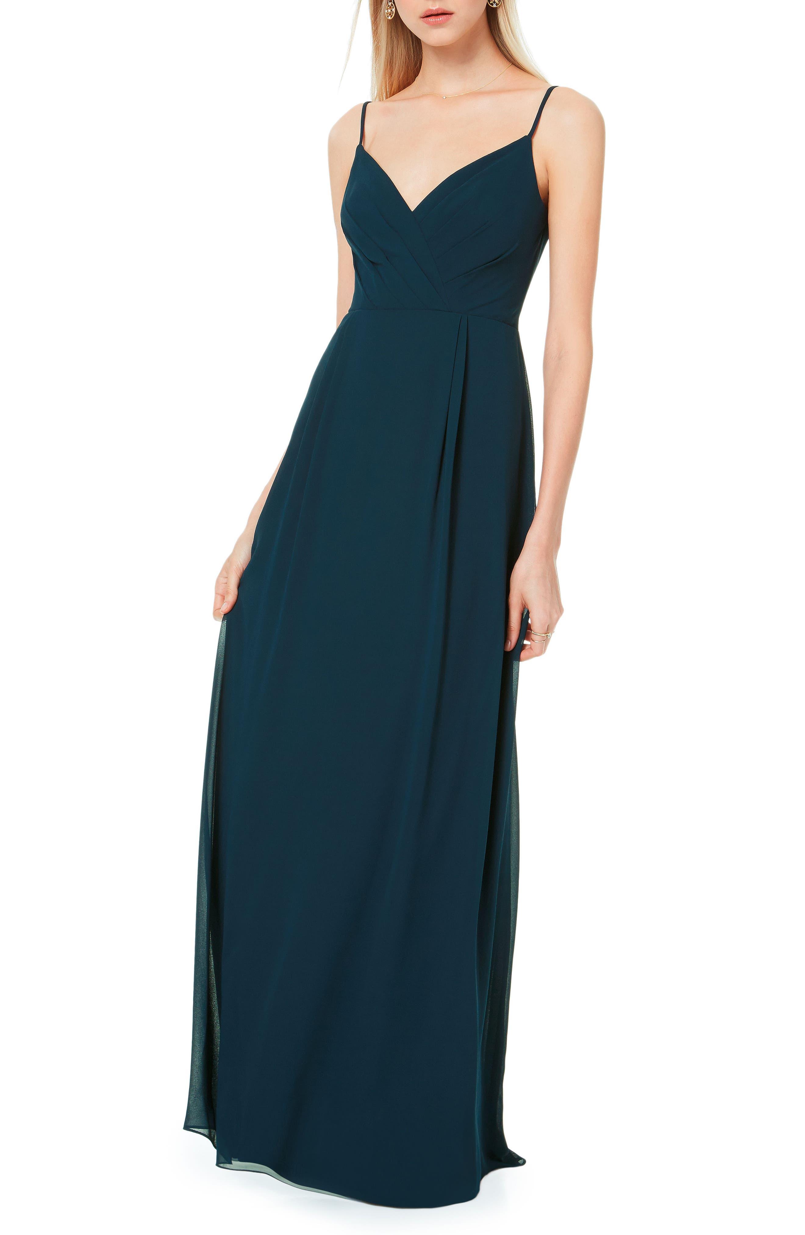 #levkoff Pleated Bodice Chiffon Gown, Blue