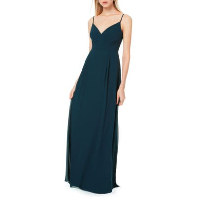 #levkoff Pleated Bodice Chiffon Gown, Blue