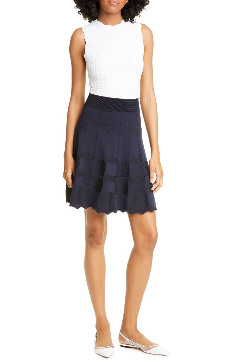 TED BAKER LONDON Colorblock Knit Fit & Flare Dress, Main, color, DK-BLUE