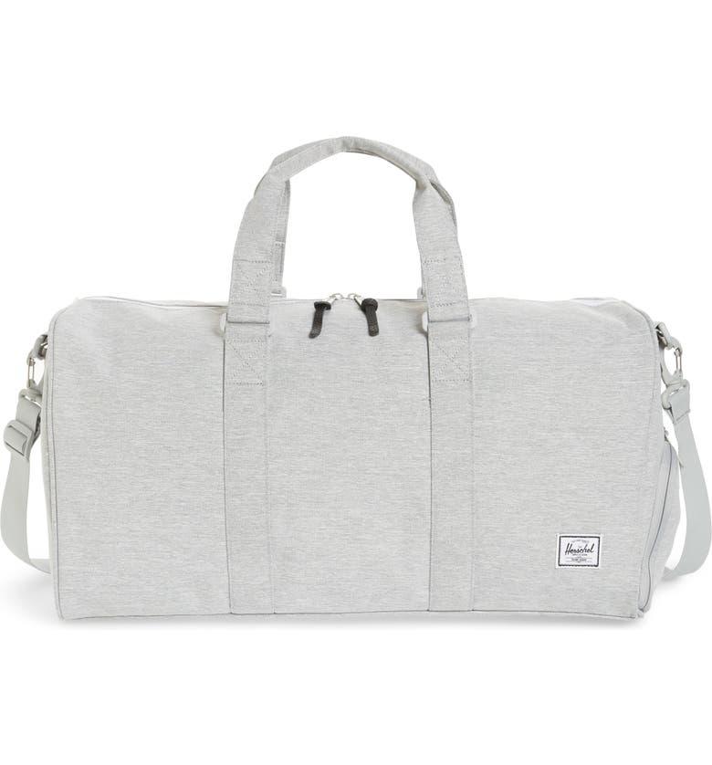 HERSCHEL SUPPLY CO. Canvas Duffle Bag, Main, color, LIGHT GREY CROSSHATCH