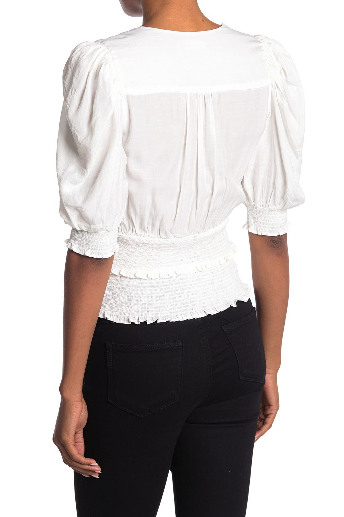 Image of Do + Be Smocked Surplice Neck Top