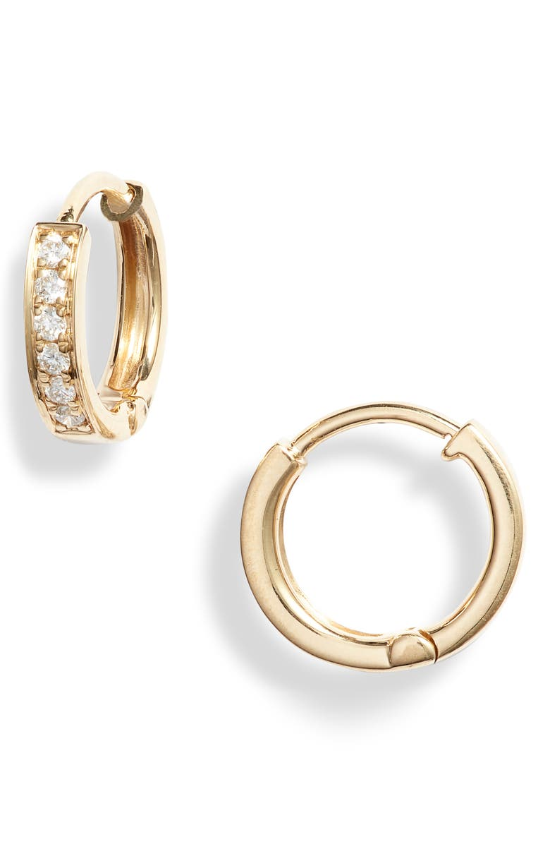 BONY LEVY Diamond Hoop Earrings, Main, color, YELLOW GOLD