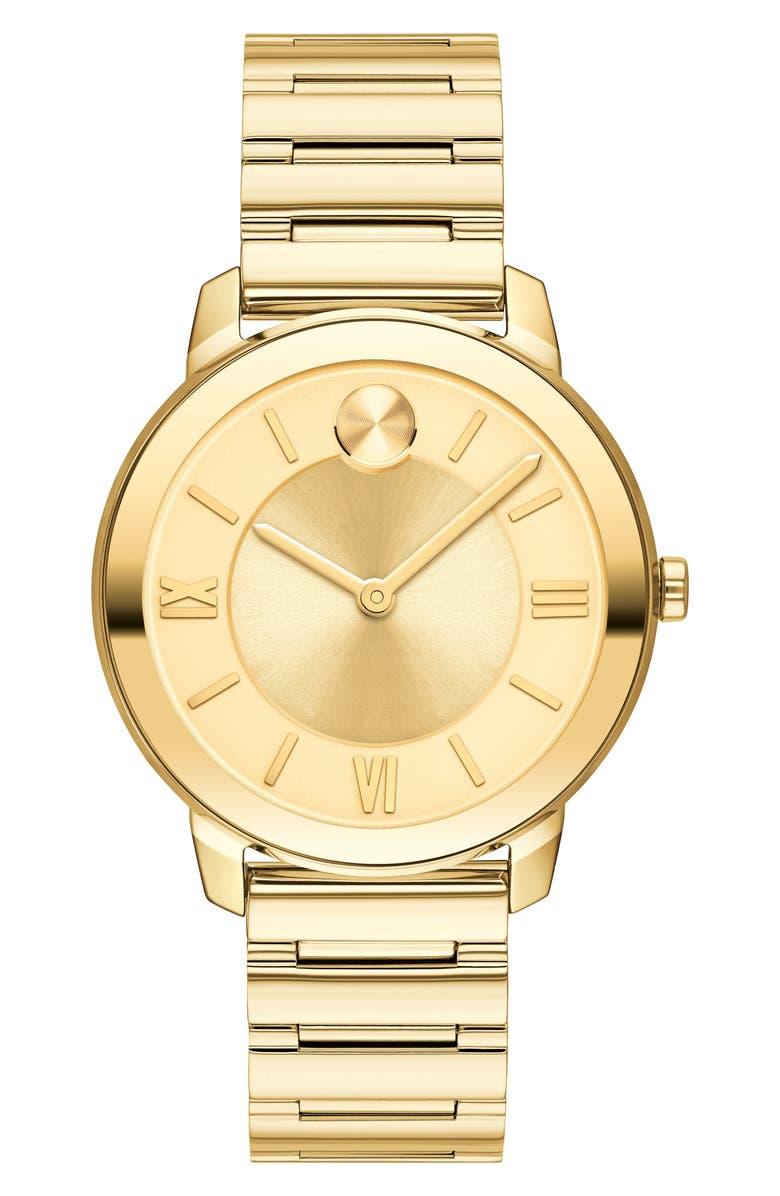 MOVADO Bold Bracelet Watch, 32mm, Main, color, GOLD