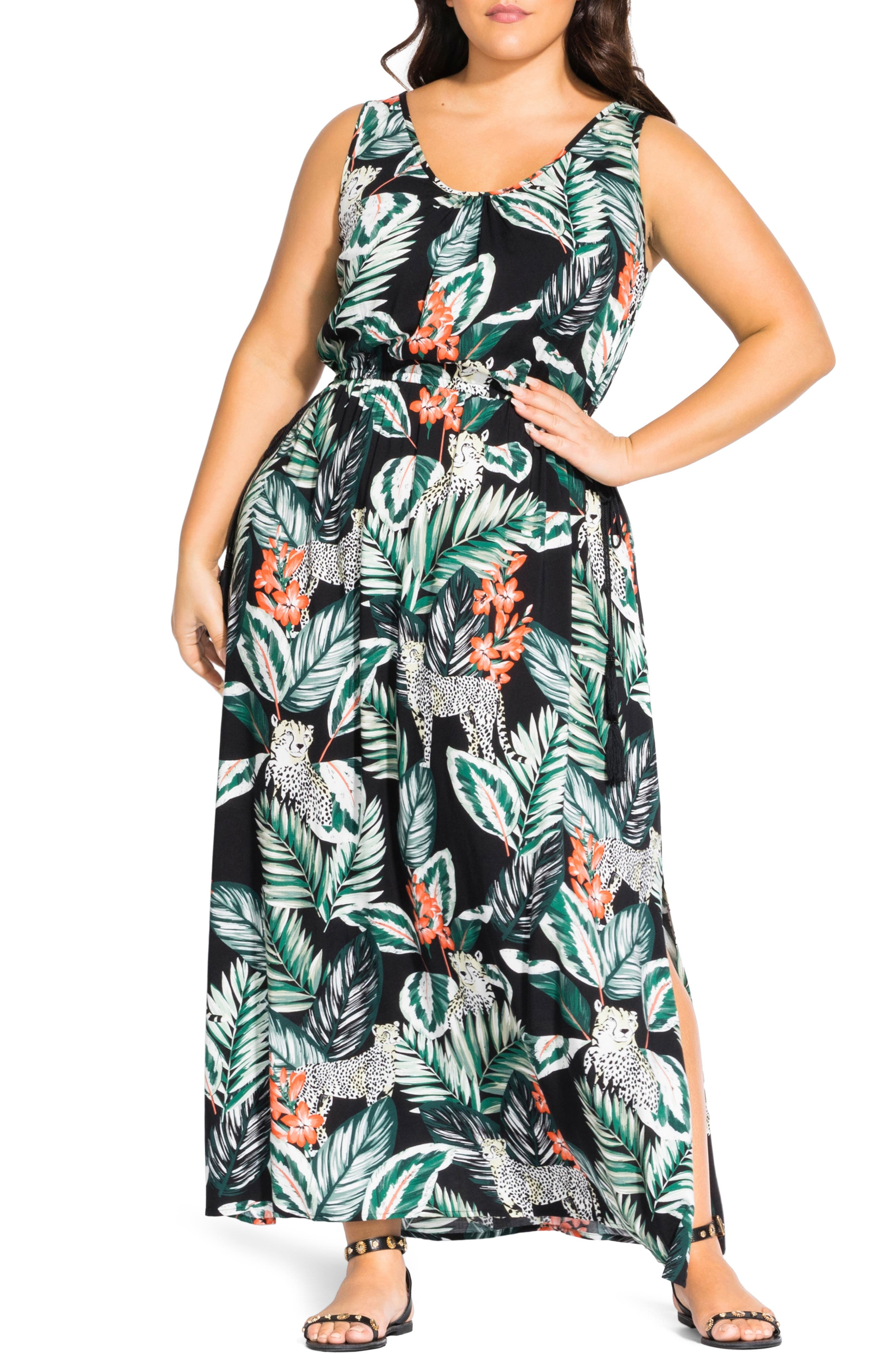 Plus Size City Chic Pacifica Maxi Dress, Green